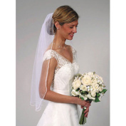 Darice VL3045 Pearl Edge Veil with Comb, 100cm by 80cm , White