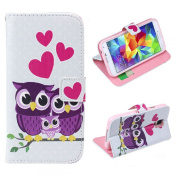 Fullkang Love Owl Family Leather Case Cover for Samsung Galaxy S5 I9600 G900
