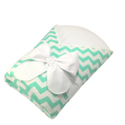 Bundlebee Baby Wrap/Swaddle/Baby Blanket - Removable Cushion for Neck and Back Support - High Quality Cotton - Feather Light - Hypoallergenic - beautiful packaging - Newborns 0-4 months - Mint Chevron