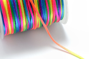 141ft (43m) (47 yards) 1mm Rainbow Multi-Coloured Nylon Cords, Spooled, Chinese Knotting Cord, Beading String for Beads #SD-S7396