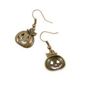 2 Pairs Earring Jewellery Making Charms Antique Bronze Findings Hooks Supplies Wholesale Supply Handmade A8BD6 Smiley Pumpkin
