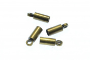 50pcs Cord End Caps in Antique Bronze, Tubes, Cord Loops, Crimp Ends. Fit for 2.4mm Cords. Jewellery Findings Supplies #SD-S7684