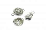 5 Sets Rose Magnetic Clasp in Silver Tone, Bracelet Connectors, Jewellery Findings Supplies #SD-S7836