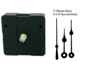 Quartz Clock Movement Kit with 7.6cm Black Spade Hands for Dials up to 0.6cm