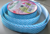 Blue Wave Pattern Kirkland Signature 50 yard x 6.4cm . wide Wire-edged 100% Polyester Ribbon - Great for Easter Baskets!