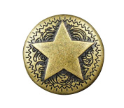 Screw-back Star Brass Concho Button Biker Leather Clothing Accessory