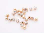 Gauze and workshop rhinestone parts (about 4mm) about 25 KC with 1 hole table with gold x Crystal round cans frame Stone handicraft material accessories material