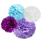 Charmed tissue pom poms in purple, lavender, white and blue 8 pcs in 25cm 38cm and 20cm