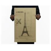 Dnven (36cm w x 50cm h) Retro Vintage La Tour Eiffel Detailed Engineering Drawing Kraft Paper Posters for Bars Cafe Home Decorations