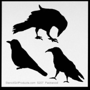 15cm x 15cm Three Crows Stencil by Kimberly Baxter Packwood