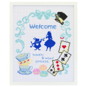 Orimupasu cross stitch embroidery kit Disney welcome board Alice's Adventures in Wonderland white 7467