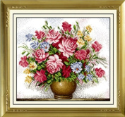 Vase of cross stitch embroidery kit large format rose Tsu this nice L304