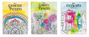Adult Colouring Books 3 Designs CityScapes Flowers Geometric Patterns