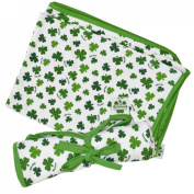 White St. Patrick's Day Baby Blanket With Green Shamrock Design
