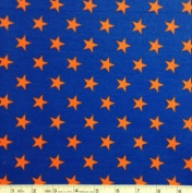 1/2 Yard - All Stars Orange on Navy Blue Cotton Fabric (Great for Quilting, Sewing, Craft Projects, Quilt, Throw Pillows, Dog Bandana & More) 1/2 Yard X 110cm