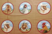 Farm Animals Fabric Block Panel - 10 Quilt Blocks (Great for Quilting, Sewing, Craft Projects, Quilt, Pillow & More) 44cm X 110cm
