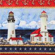 1 Yard - Nautical Light House Striped Cotton Fabric (Great for Quilting, Sewing, Craft Projects, Throw Pillows & More) 1 Yard x 110cm