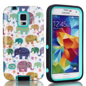 S5 Case,Galaxy S5 Case - SAVYOU Ethnic Elephant Hybrid High Impact Soft TPU + Hard PC Case Cover for Samsung Galaxy S5 i9600