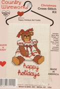 Country Wireworks Happy Holidays Girl Teddy Christmas Ornament Cross-Stitch Kit