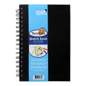 Thornton's Art Supply 8.75 in x 5.75 in Artist Spiral Perforated Sketch Pad, Black & White Pages, 100 Sheets