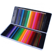 Santfe 72pcs Premium Artist Drawing Colour Pencils Waterclolor Water Soluble Coloured Pencil Set Including 2pcs Brushes with a Beautiful Tin Box