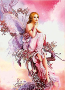 5D Full Drilled Square Needlework Diy Diamond Painting Cross Stitch Square Diamond Emboridery Butterfly Fairy (30x40)CM