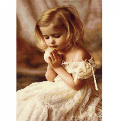 OneHippo 5D DIY Crystal Diamond Painting, Rhinestone Painting Praying Girl Counted Paint By Number Kits (45x45)CM