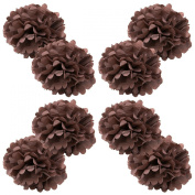 WYZworks Set of 8 - BROWN 41cm - (8 Pack) Paper Tissue Pom Poms Flower Party Decorations with 20cm , 25cm , 30cm , 36cm option