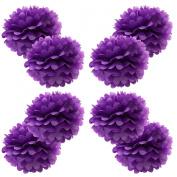 WYZworks Set of 8 - PURPLE 41cm - (8 Pack) Paper Tissue Pom Poms Flower Party Decorations with 20cm , 25cm , 30cm , 36cm option
