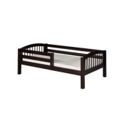 C302-Cp Day Bed With Front Guard Rail Arch Spindle Headboard Cappuccino Finish, Twin Size Mattress