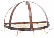 Rogar Half Dome Pot Rack w/ Grid in Hammered Copper & Copper
