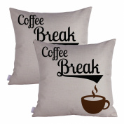 Queenie® - 2 Pcs All about Coffee Quotable Quotes Meaningful English Writing Decorative Pillowcase Thick Cotton Linen Cushion Cover 18 X 18 Inch 45 X 45 Cm