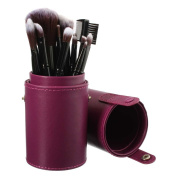 PU Leather Makeup Brush Holder - Purple