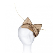 Janeo Middleton Style Mini Domed Pill Box Bow Fascinator Hat in Satin Fabric. Mini Round Dome with a Large Bow and A Single Quill. For Weddings or Special Occasions. Five Classic Versatile Colours