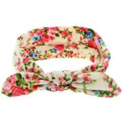 FEITONG Lovely Kids Rabbit Ears Elastic Flowers Bowknot Headband Hairband