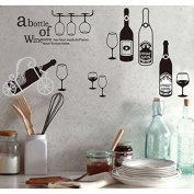 Bottles of Wine Cups Wall Decal PVC Home Sticker House Vinyl Paper Decoration WallPaper Living Room Bedroom Kitchen Art Picture DIY Murals Girls Boys kids Nursery Baby Playroom Decor