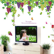 Grape Vines Green Leaves Butterflies English Letters Photo Frames Wall Decal PVC Home Sticker House Vinyl Paper Decoration WallPaper Living Room Bedroom Kitchen Art Picture DIY Murals Girls Boys kids Nursery Baby Playroom Decor