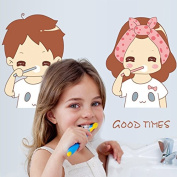 Happy Girl and Boy Brushing English Letters Wall Decal PVC Home Sticker House Vinyl Paper Decoration WallPaper Living Room Bedroom Kitchen Art Picture DIY Murals Girls Boys kids Nursery Baby Playroom Decor