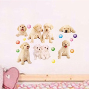 Lovely Dogs Wall Decal PVC Home Sticker House Vinyl Paper Decoration WallPaper Living Room Bedroom Kitchen Art Picture DIY Murals Girls Boys kids Nursery Baby Playroom Decor