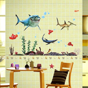 Big Sharks Sea Fishes Animals Plants Wall Decal PVC Home Sticker House Vinyl Paper Decoration WallPaper Living Room Bedroom Kitchen Art Picture DIY Murals Girls Boys kids Nursery Baby Playroom Decor