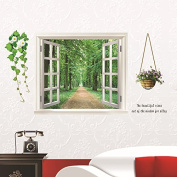 3D Fake Window Scenery Trees Flowers Wall Decal PVC Home Sticker House Vinyl Paper Decoration WallPaper Living Room Bedroom Kitchen Art Picture DIY Murals Girls Boys kids Nursery Baby Playroom Decor