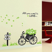 Green Leaves Flowers Bicycle English Letters Wall Decal PVC Home Sticker House Vinyl Paper Decoration WallPaper Living Room Bedroom Art Picture DIY Murals Girls Boys kids Nursery Baby Playroom Decor
