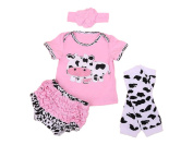 Baby Rae Pink Cow Clothing 4 in 1 Set
