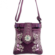 Justin West Purple Western Tooled Floral Rose Laser Cut Rhinestone Concho Buckle Messenger Bag Purse with Long Crossbody Strap