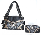 western skull crossbones rhinestone cross concho purse set
