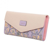 TRADERPLUS Womens Envelope Leather Wallet Button Clutch Purse Long Handbag Zip Bag