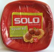 Solo Squared 26cm Plastic Plates 30 CT - Red