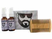Bearditude Beard Kit- Beard Comb & 2 Beard Oil Sprays in Gift Box