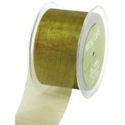 5.1cm Wide Ribbon Olive Sheer Pinstripes