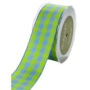 3.8cm Wide Ribbon Blue and Green Cheque